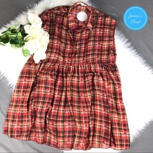 Plaid Sheer Tunic Style Sleeveless Dress By WinWin